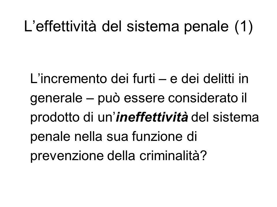 L'effettività del sistema penale (1) L'incremento dei furti – e dei delitti in generale – può essere considerato il prodotto di un'ineffettività del sistema penale nella sua funzione di prevenzione della criminalità?
