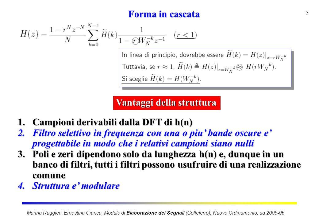 Marina Ruggieri, Ernestina Cianca, Modulo di Elaborazione dei Segnali (Colleferro), Nuovo Ordinamento, aa 2005-06 5 Forma in cascata Vantaggi della st