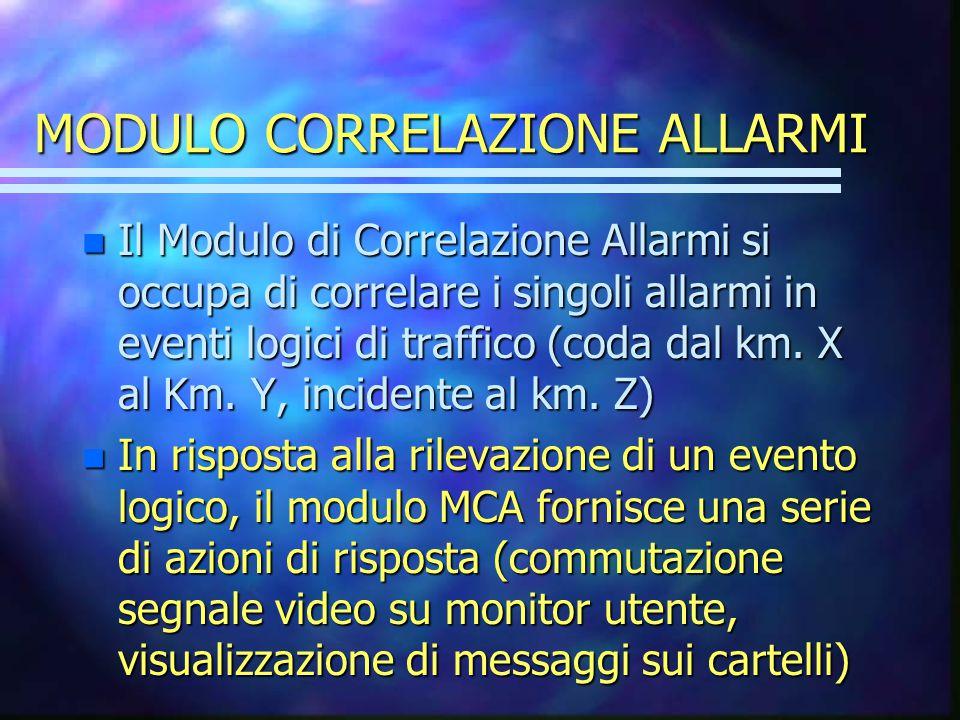 MODULO CORRELAZIONE ALLARMI n Il Modulo di Correlazione Allarmi si occupa di correlare i singoli allarmi in eventi logici di traffico (coda dal km.