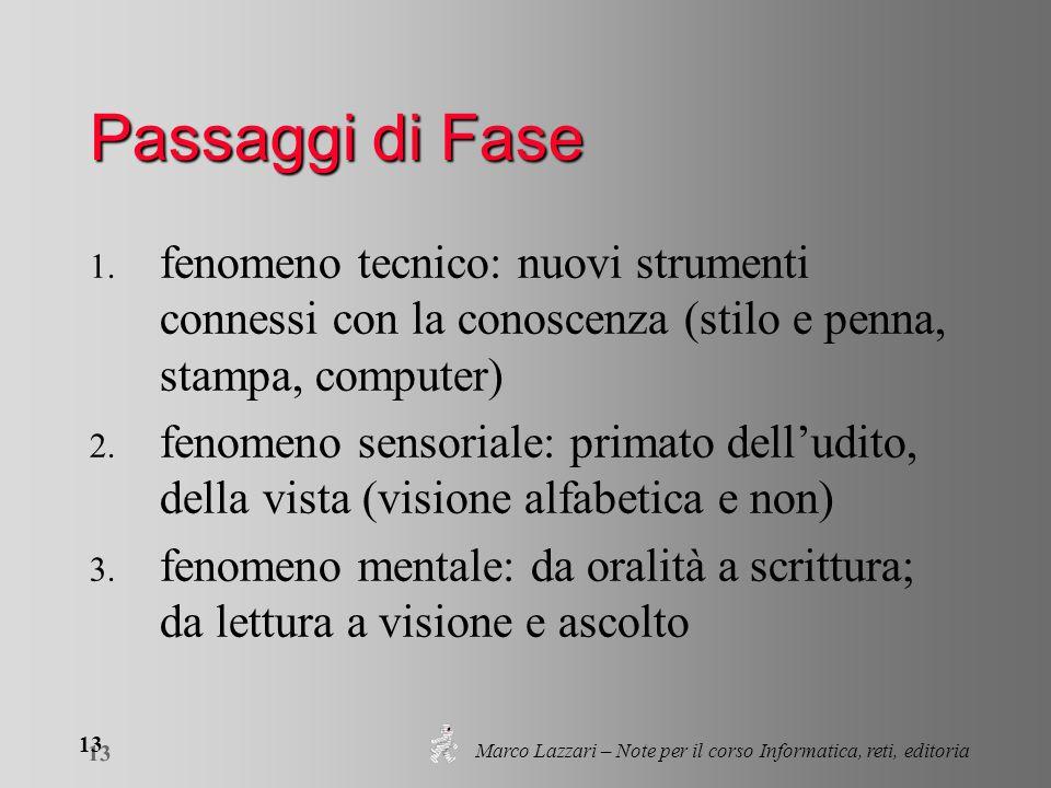 Marco Lazzari – Note per il corso Informatica, reti, editoria 13 Passaggi di Fase 1.