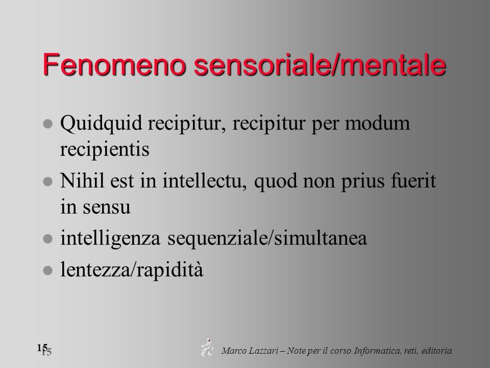 Marco Lazzari – Note per il corso Informatica, reti, editoria 15 Fenomeno sensoriale/mentale l Quidquid recipitur, recipitur per modum recipientis l Nihil est in intellectu, quod non prius fuerit in sensu l intelligenza sequenziale/simultanea l lentezza/rapidità
