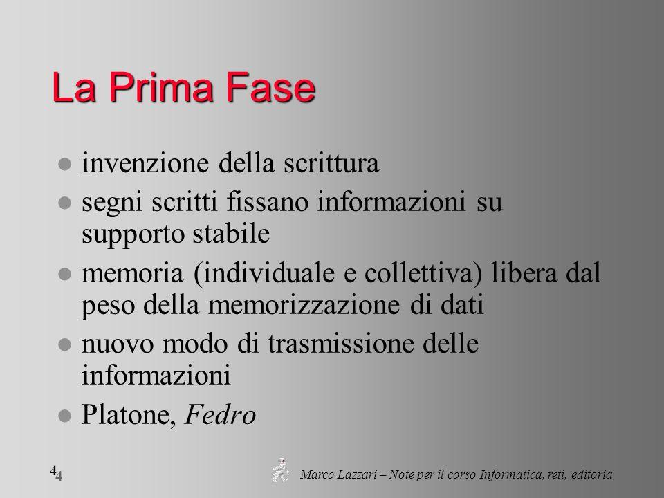 Marco Lazzari – Note per il corso Informatica, reti, editoria 25 Che cos'è un testo.