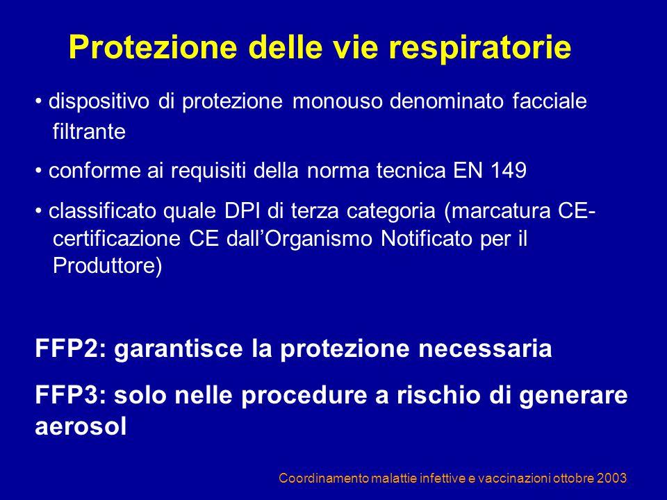 Coordinamento malattie infettive e vaccinazioni ottobre 2003 Protezione delle vie respiratorie dispositivo di protezione monouso denominato facciale f