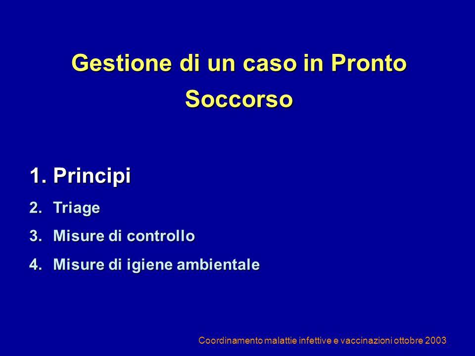 Coordinamento malattie infettive e vaccinazioni ottobre 2003 GESTIONE DI UN CASO SOSPETTO IN AMBITO EXTRAOSPEDALIERO (1) In una situazione epidemiologica quale quella della primavera 2003, in cui il numero di casi di SARS attesi in Italia sarebbe, nel caso, estremamente contenuto, è opportuno limitare al massimo le occasioni di contatto tra un potenziale caso di SARS e le strutture assistenziali territoriali, in modo da ridurre il rischio di contatti non adeguatamente protetti con sospetti casi di SARS e altre persone (operatori sanitari o altri pazienti)