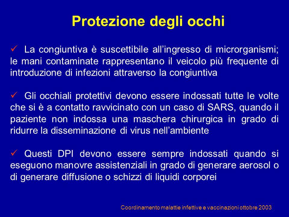 Coordinamento malattie infettive e vaccinazioni ottobre 2003 La congiuntiva è suscettibile all'ingresso di microrganismi; le mani contaminate rapprese