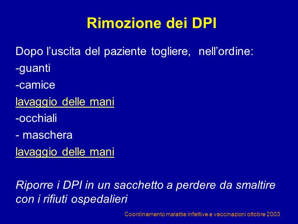 Coordinamento malattie infettive e vaccinazioni ottobre 2003 Rimozione dei DPI Dopo l'uscita del paziente togliere, nell'ordine: -guanti -camice lavag