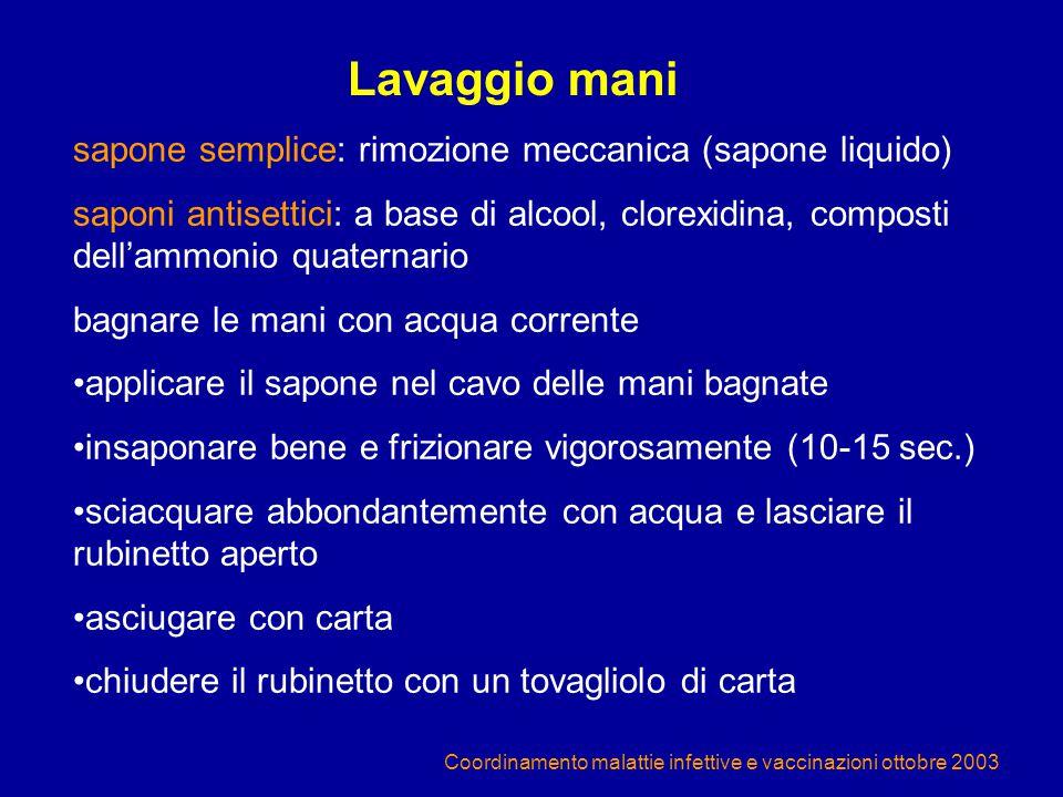 Coordinamento malattie infettive e vaccinazioni ottobre 2003 sapone semplice: rimozione meccanica (sapone liquido) saponi antisettici: a base di alcoo