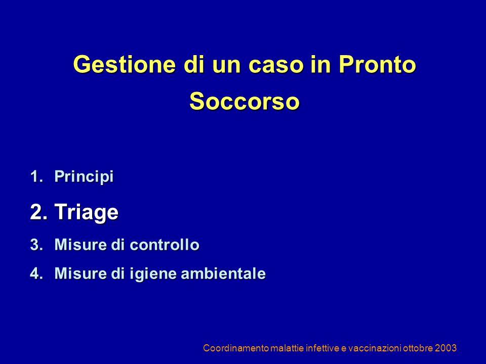 Coordinamento malattie infettive e vaccinazioni ottobre 2003 Gestione di un caso in Pronto Soccorso 1.Principi 2.Triage 3.Misure di controllo 4.Misure