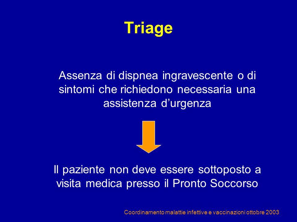 Coordinamento malattie infettive e vaccinazioni ottobre 2003 Triage Assenza di dispnea ingravescente o di sintomi che richiedono necessaria una assist