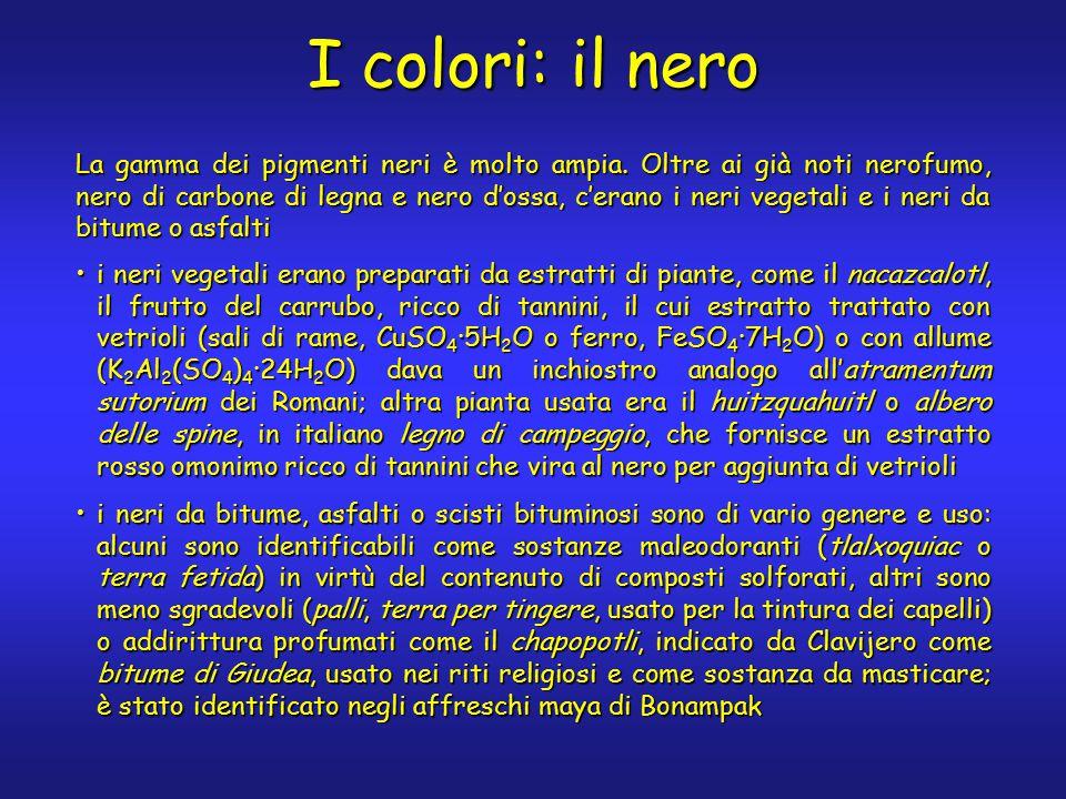 I colori: il nero La gamma dei pigmenti neri è molto ampia.