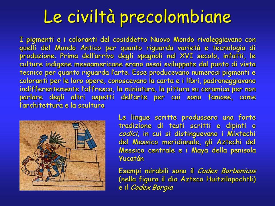 Le civiltà precolombiane I pigmenti e i coloranti del cosiddetto Nuovo Mondo rivaleggiavano con quelli del Mondo Antico per quanto riguarda varietà e tecnologia di produzione.