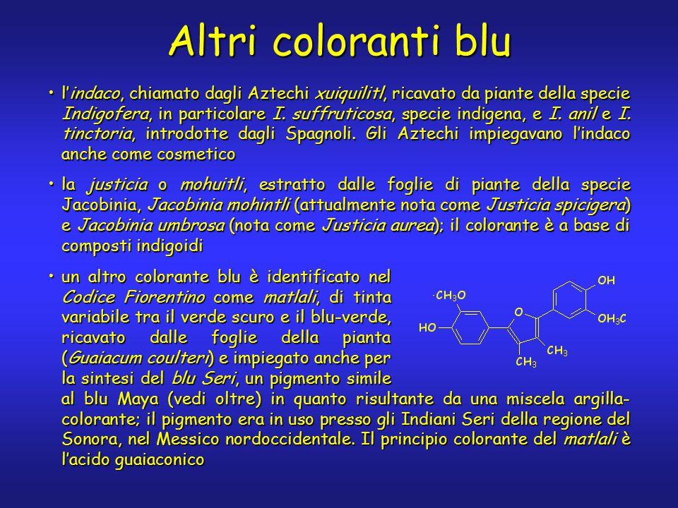 Altri coloranti blu l'indaco, chiamato dagli Aztechi xuiquilitl, ricavato da piante della specie Indigofera, in particolare I.