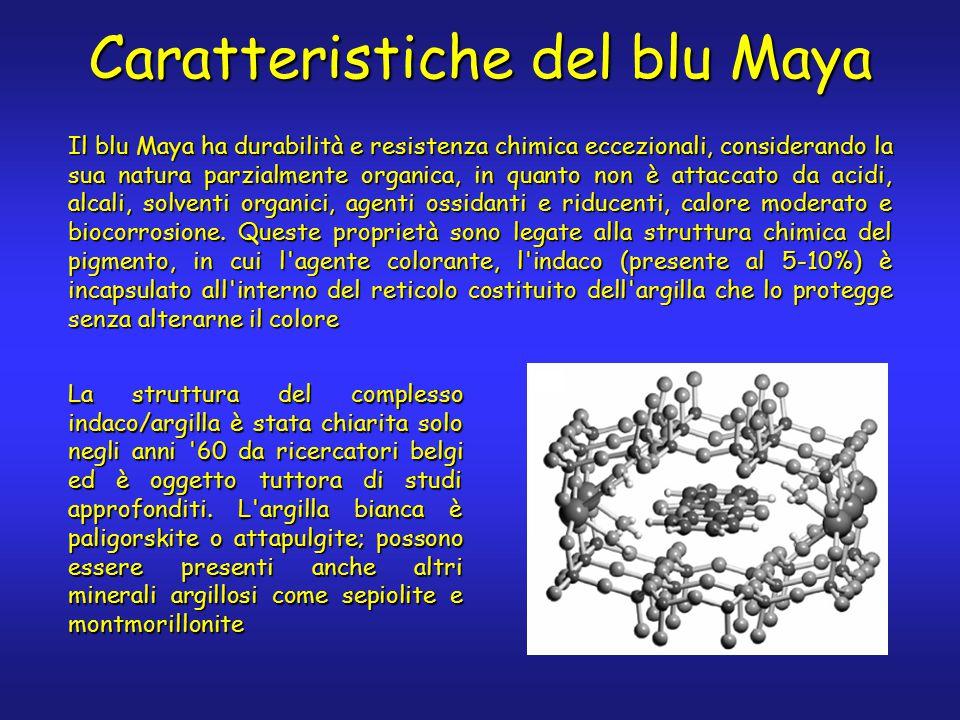 Caratteristiche del blu Maya Il blu Maya ha durabilità e resistenza chimica eccezionali, considerando la sua natura parzialmente organica, in quanto non è attaccato da acidi, alcali, solventi organici, agenti ossidanti e riducenti, calore moderato e biocorrosione.