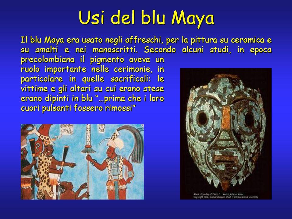 Usi del blu Maya Il blu Maya era usato negli affreschi, per la pittura su ceramica e su smalti e nei manoscritti.