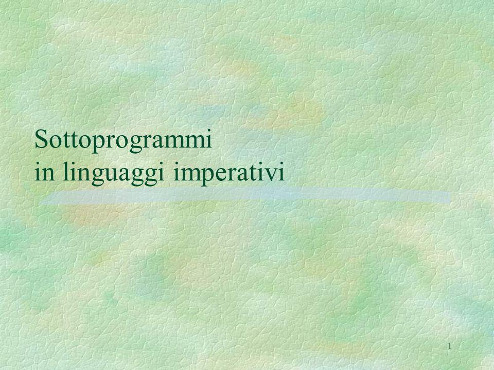 1 Sottoprogrammi in linguaggi imperativi