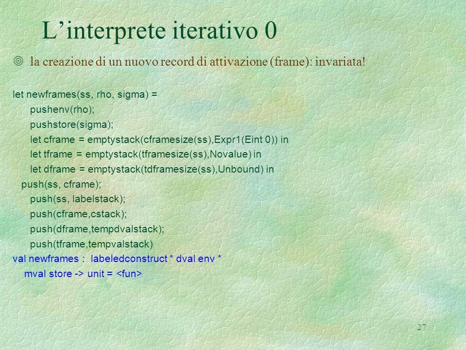 27 L'interprete iterativo 0 ¥la creazione di un nuovo record di attivazione (frame): invariata.