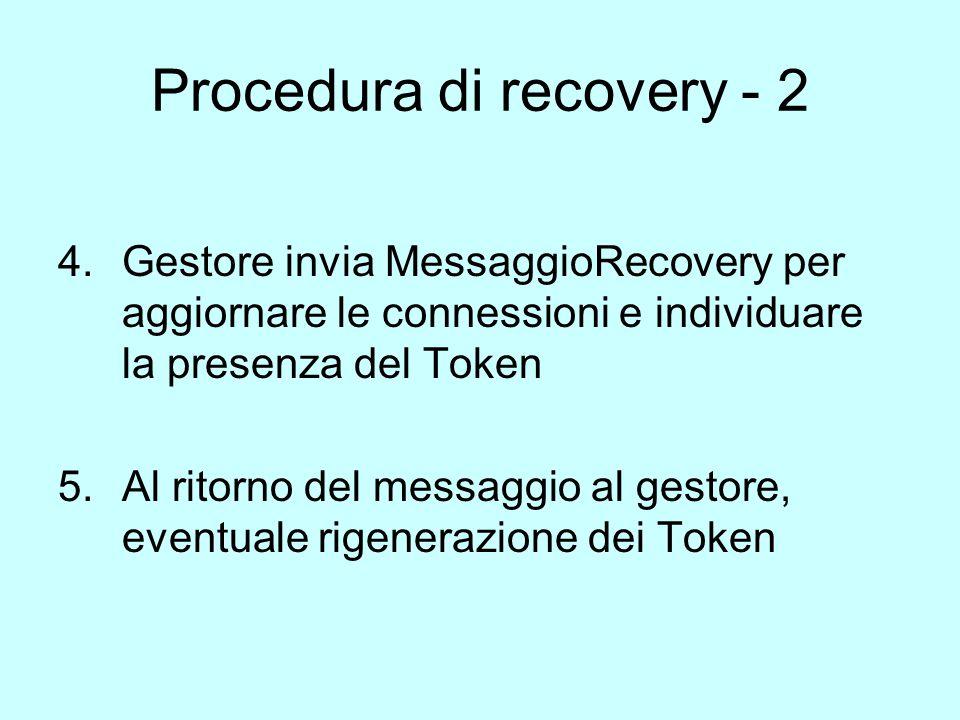 Procedura di recovery - 2 4.Gestore invia MessaggioRecovery per aggiornare le connessioni e individuare la presenza del Token 5.Al ritorno del messaggio al gestore, eventuale rigenerazione dei Token