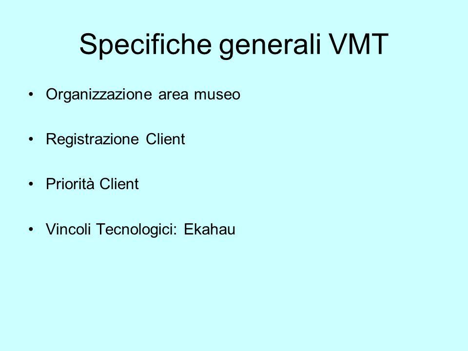Specifiche generali VMT Organizzazione area museo Registrazione Client Priorità Client Vincoli Tecnologici: Ekahau