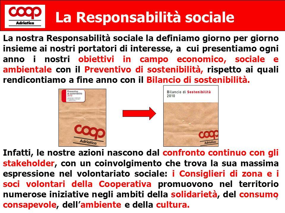 3 La Responsabilità sociale La nostra Responsabilità sociale la definiamo giorno per giorno insieme ai nostri portatori di interesse, a cui presentiamo ogni anno i nostri obiettivi in campo economico, sociale e ambientale con il Preventivo di sostenibilità, rispetto ai quali rendicontiamo a fine anno con il Bilancio di sostenibilità.