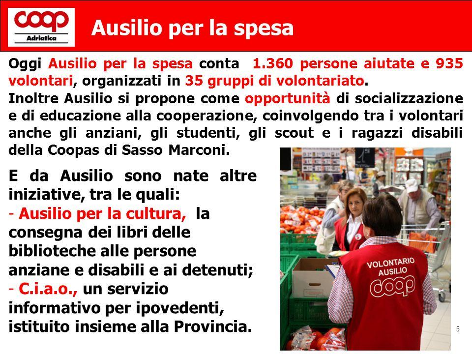 5 Ausilio per la spesa Oggi Ausilio per la spesa conta 1.360 persone aiutate e 935 volontari, organizzati in 35 gruppi di volontariato.