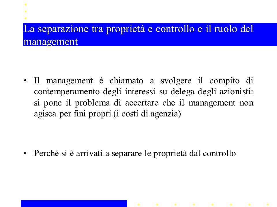 La separazione tra proprietà e controllo e il ruolo del management Il management è chiamato a svolgere il compito di contemperamento degli interessi s