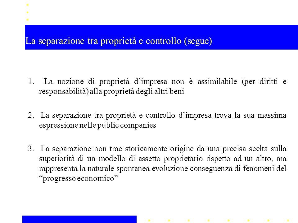 La separazione tra proprietà e controllo (segue) 1. La nozione di proprietà d'impresa non è assimilabile (per diritti e responsabilità) alla proprietà