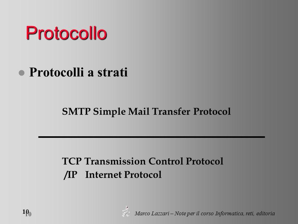 Marco Lazzari – Note per il corso Informatica, reti, editoria 10 Protocollo l Protocolli a strati TCP Transmission Control Protocol /IP Internet Protocol SMTP Simple Mail Transfer Protocol