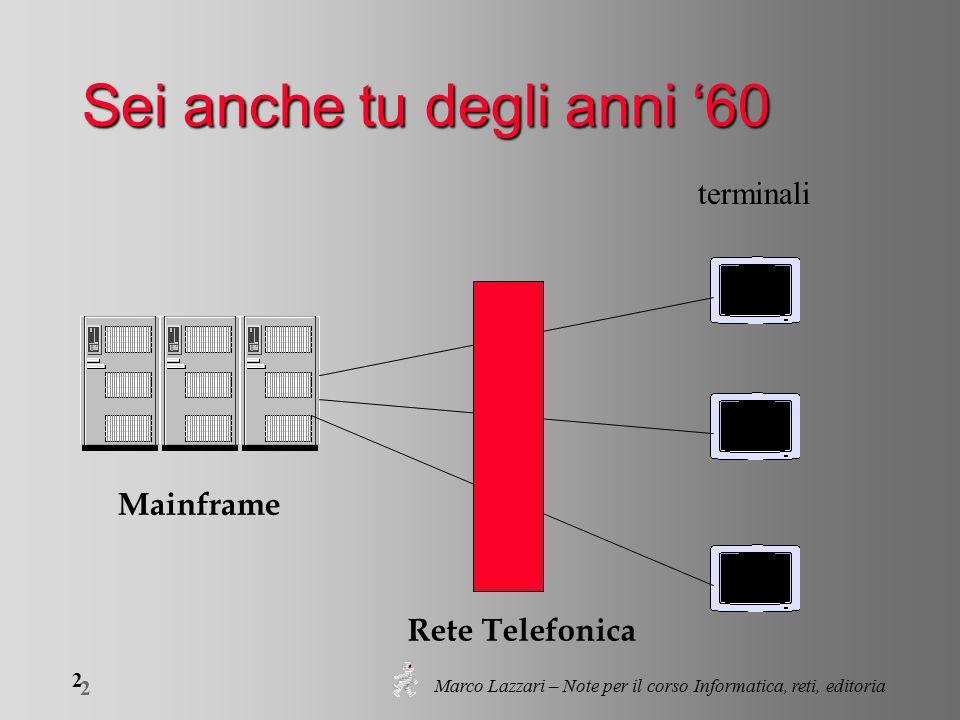 Marco Lazzari – Note per il corso Informatica, reti, editoria 2 2 Sei anche tu degli anni '60 Mainframe Rete Telefonica terminali