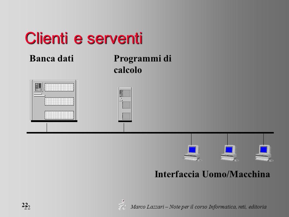 Marco Lazzari – Note per il corso Informatica, reti, editoria 22 Clienti e serventi Banca datiProgrammi di calcolo Interfaccia Uomo/Macchina