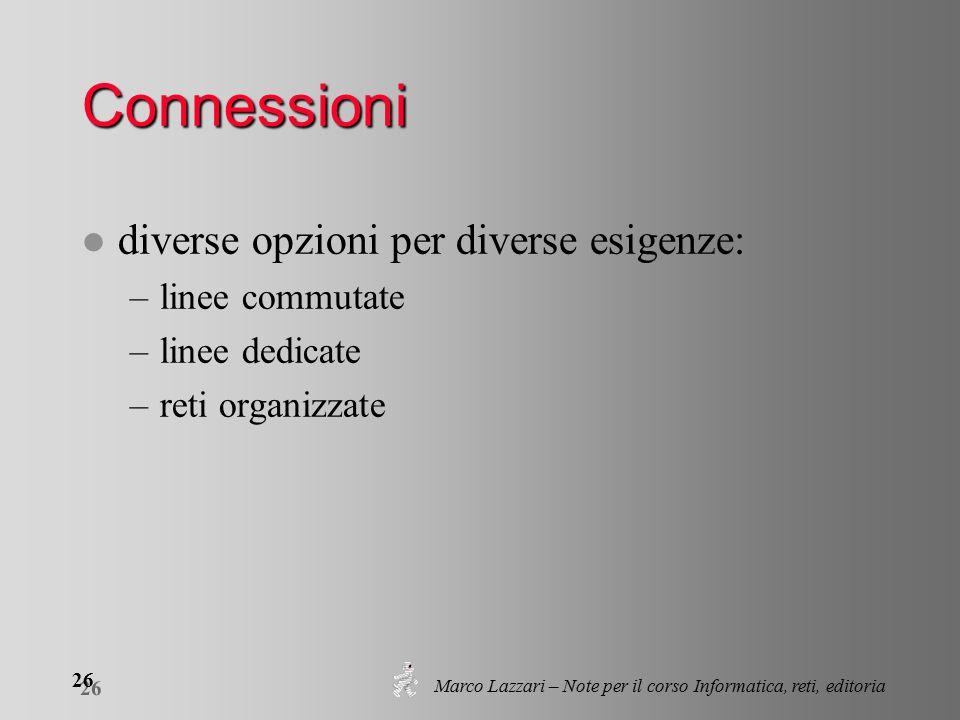 Marco Lazzari – Note per il corso Informatica, reti, editoria 26 Connessioni l diverse opzioni per diverse esigenze: –linee commutate –linee dedicate –reti organizzate