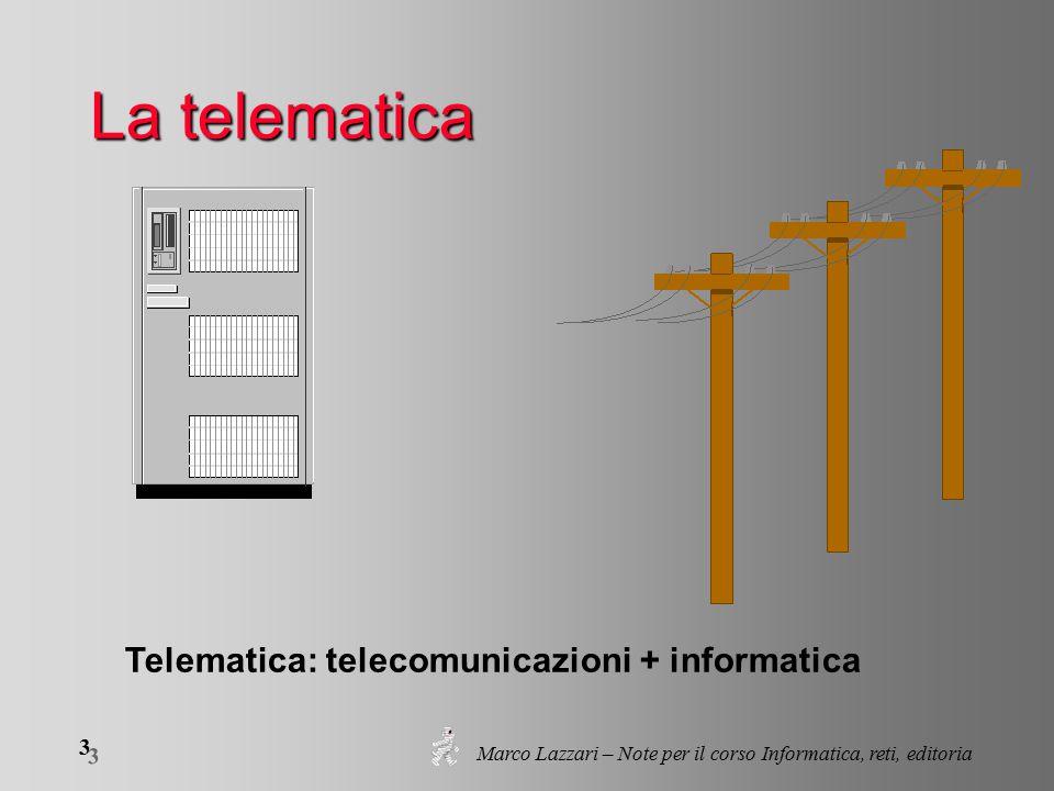 Marco Lazzari – Note per il corso Informatica, reti, editoria 3 3 La telematica Telematica: telecomunicazioni + informatica