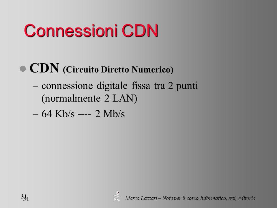 Marco Lazzari – Note per il corso Informatica, reti, editoria 31 Connessioni CDN l CDN (Circuito Diretto Numerico) –connessione digitale fissa tra 2 punti (normalmente 2 LAN) –64 Kb/s ---- 2 Mb/s