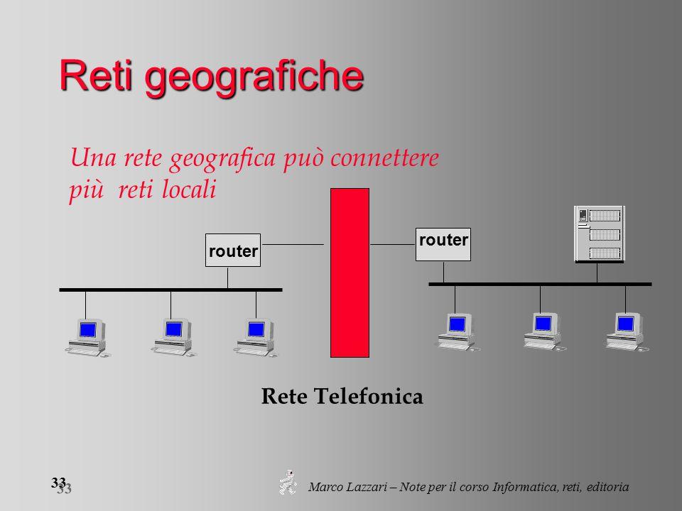 Marco Lazzari – Note per il corso Informatica, reti, editoria 33 router Rete Telefonica Una rete geografica può connettere più reti locali Reti geografiche