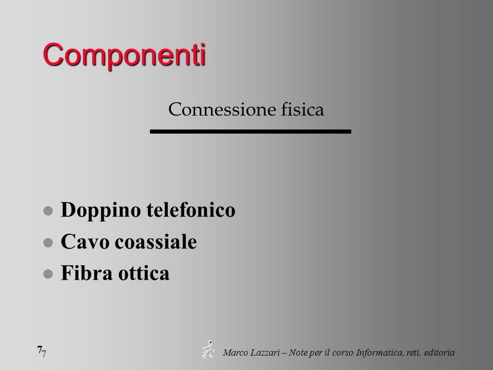 Marco Lazzari – Note per il corso Informatica, reti, editoria 7 7 Componenti Connessione fisica l Doppino telefonico l Cavo coassiale l Fibra ottica