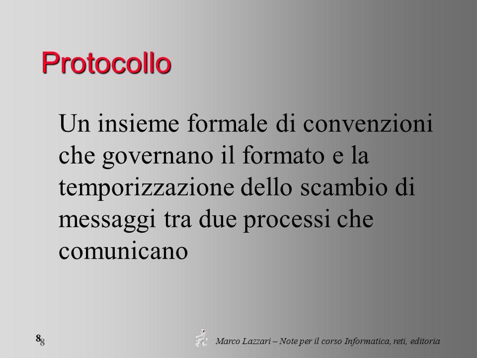 Marco Lazzari – Note per il corso Informatica, reti, editoria 8 8 Protocollo Un insieme formale di convenzioni che governano il formato e la temporizzazione dello scambio di messaggi tra due processi che comunicano