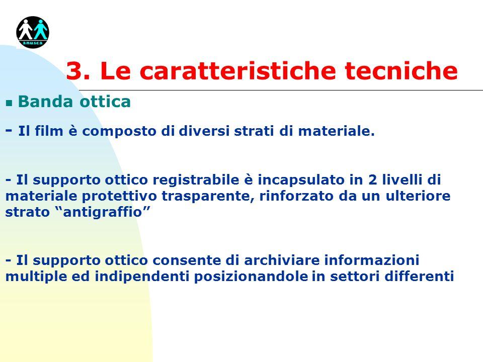 3. Le caratteristiche tecniche n Banda ottica - Il film è composto di diversi strati di materiale. - Il supporto ottico registrabile è incapsulato in
