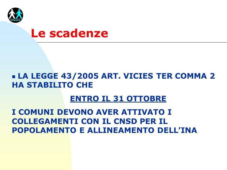 Le scadenze n LA LEGGE 43/2005 ART.
