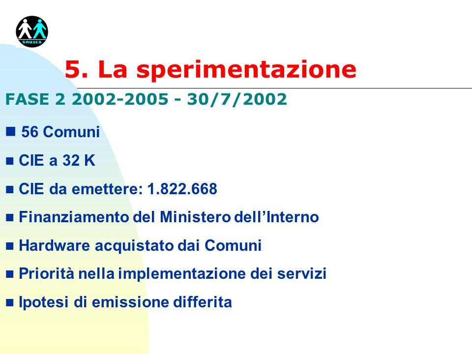 5. La sperimentazione FASE 2 2002-2005 - 30/7/2002 n 56 Comuni n CIE a 32 K n CIE da emettere: 1.822.668 n Finanziamento del Ministero dell'Interno n