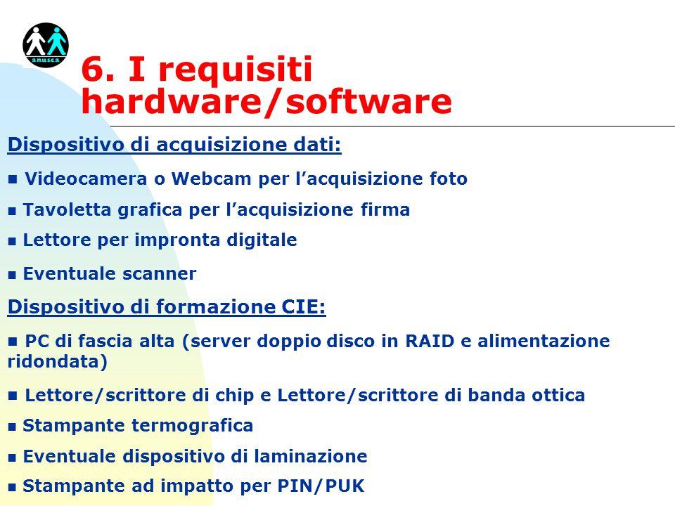 Dispositivo di acquisizione dati: n Videocamera o Webcam per l'acquisizione foto n Tavoletta grafica per l'acquisizione firma n Lettore per impronta d