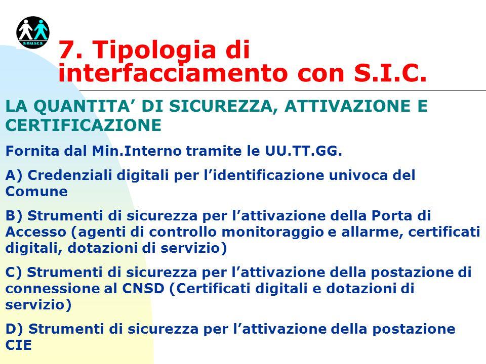 7. Tipologia di interfacciamento con S.I.C. LA QUANTITA' DI SICUREZZA, ATTIVAZIONE E CERTIFICAZIONE Fornita dal Min.Interno tramite le UU.TT.GG. A) Cr