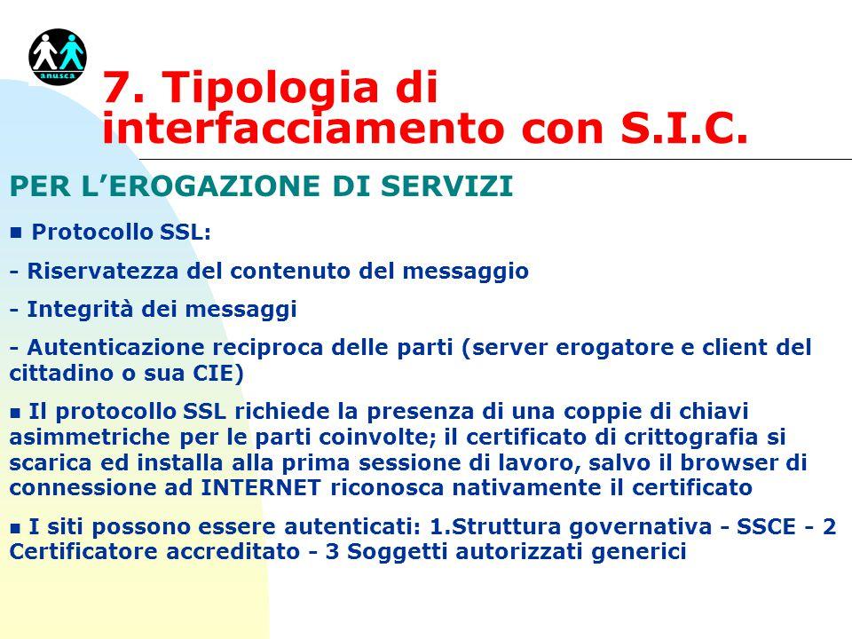 7. Tipologia di interfacciamento con S.I.C. PER L'EROGAZIONE DI SERVIZI n Protocollo SSL: - Riservatezza del contenuto del messaggio - Integrità dei m