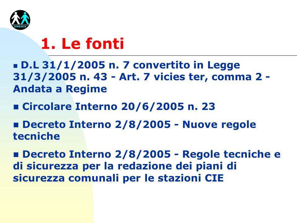 1. Le fonti n D.L 31/1/2005 n. 7 convertito in Legge 31/3/2005 n. 43 - Art. 7 vicies ter, comma 2 - Andata a Regime n Circolare Interno 20/6/2005 n. 2