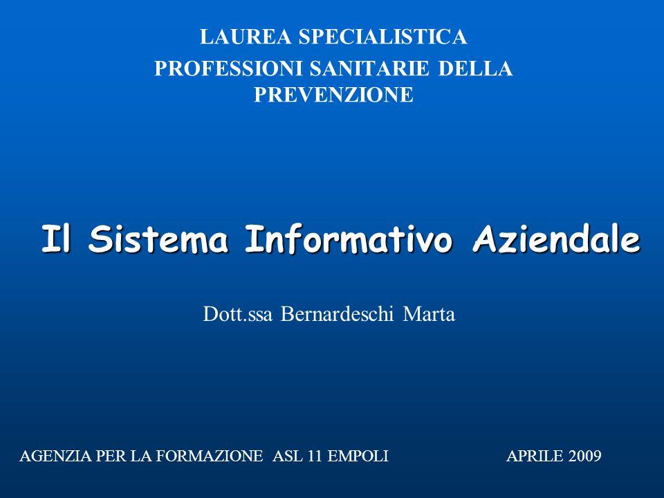Il Sistema Informativo Aziendale LAUREA SPECIALISTICA PROFESSIONI SANITARIE DELLA PREVENZIONE APRILE 2009 Dott.ssa Bernardeschi Marta AGENZIA PER LA FORMAZIONE ASL 11 EMPOLI