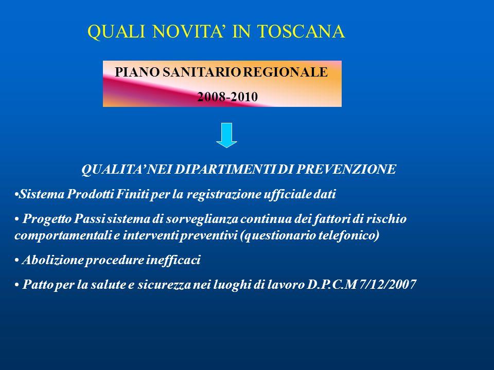 PIANO SANITARIO REGIONALE 2008-2010 QUALI NOVITA' IN TOSCANA QUALITA' NEI DIPARTIMENTI DI PREVENZIONE Sistema Prodotti Finiti per la registrazione uff