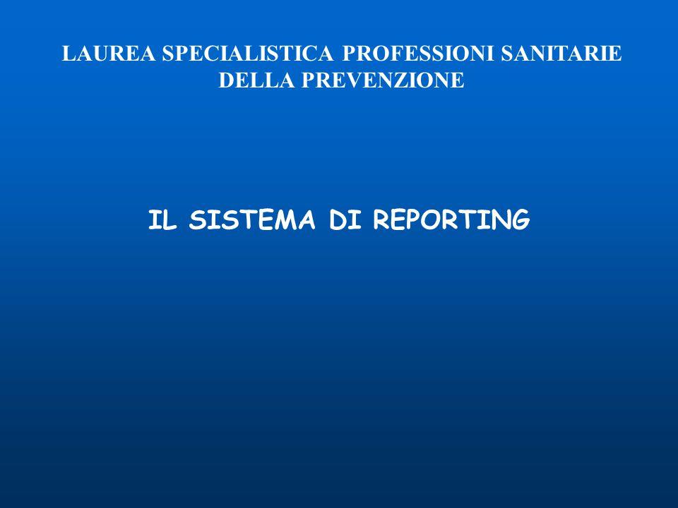 IL SISTEMA DI REPORTING LAUREA SPECIALISTICA PROFESSIONI SANITARIE DELLA PREVENZIONE