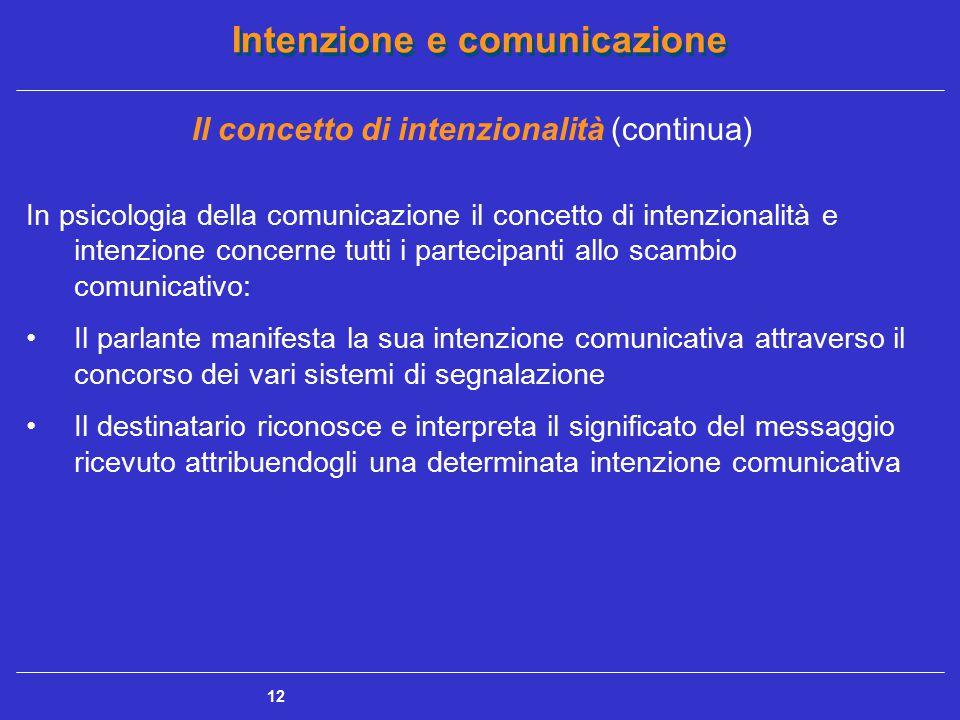 Intenzione e comunicazione 13 Il concetto di intenzionalità (continua) Gioco reciproco fra i partecipanti, caratterizzato da un processo di intenzionalizzazione (manifestazione di una data intenzione da parte del parlante) e da un processo di re intenzionalizzazione (interpretazione dell'intenzione da parte del destinatario) [Anolli e Ciceri]