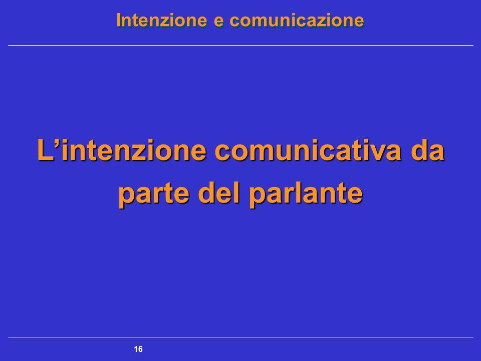 Intenzione e comunicazione 16 L'intenzione comunicativa da parte del parlante