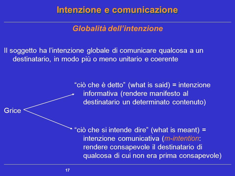 Intenzione e comunicazione 17 Globalità dell'intenzione Il soggetto ha l'intenzione globale di comunicare qualcosa a un destinatario, in modo più o me