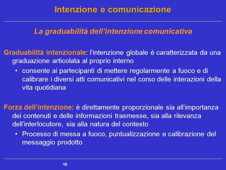 Intenzione e comunicazione 19 La graduabilità dell'intenzione comunicativa Graduabilità intenzionale: l'intenzione globale è caratterizzata da una gra