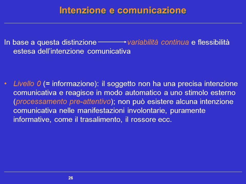Intenzione e comunicazione 26 In base a questa distinzionevariabilità continua e flessibilità estesa dell'intenzione comunicativa Livello 0 (= informa